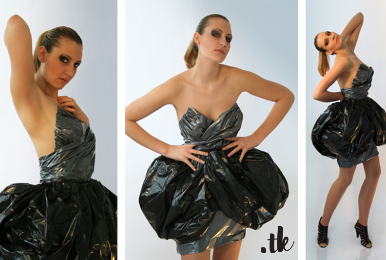 Dresses made from plastic bags, veneer and old books, experimental fashion design, sculptures by tanja kaiser