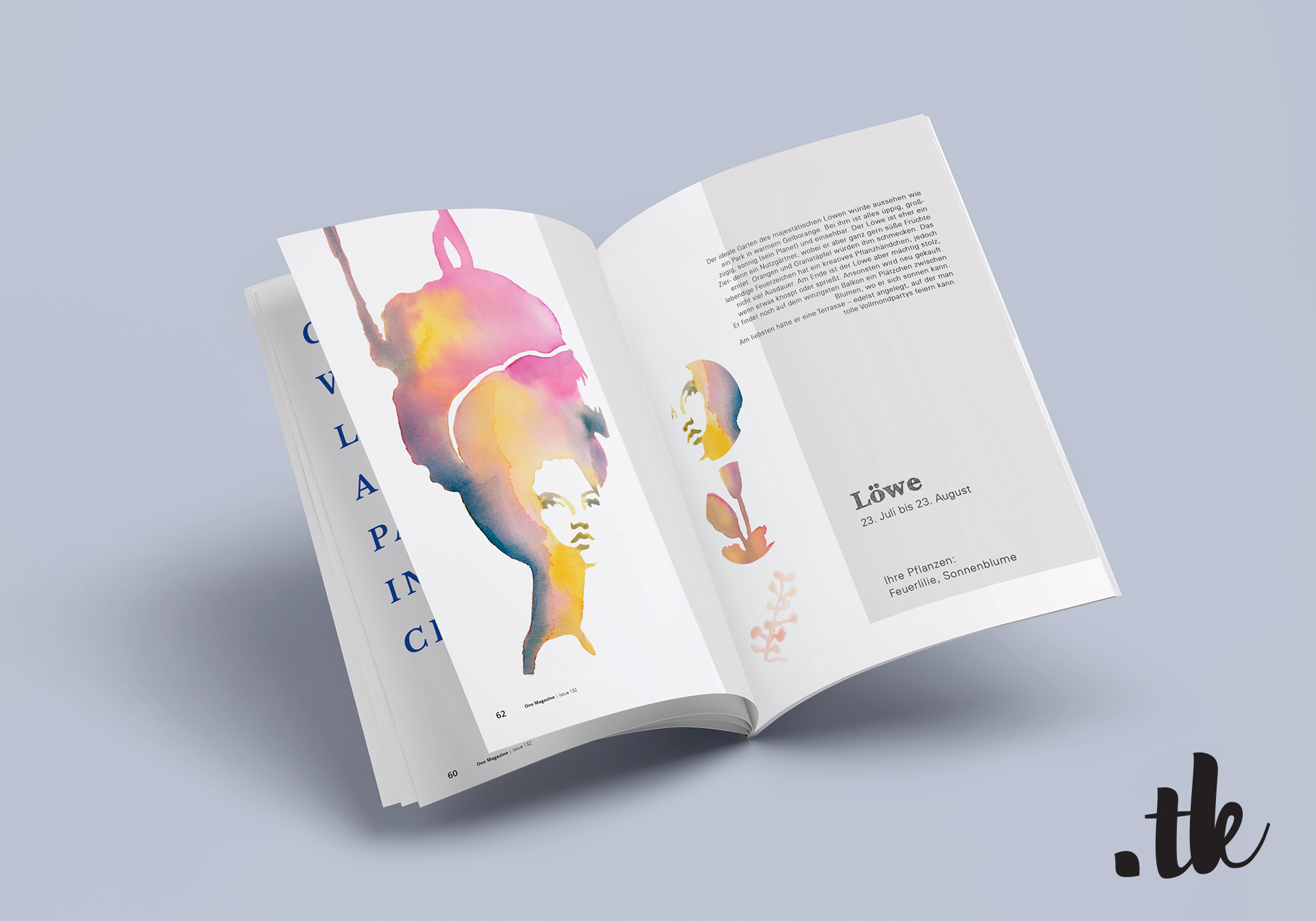 Mock Up of Magazine showing an article about a zodiac sign, fashion illustration by tanja kaiser
