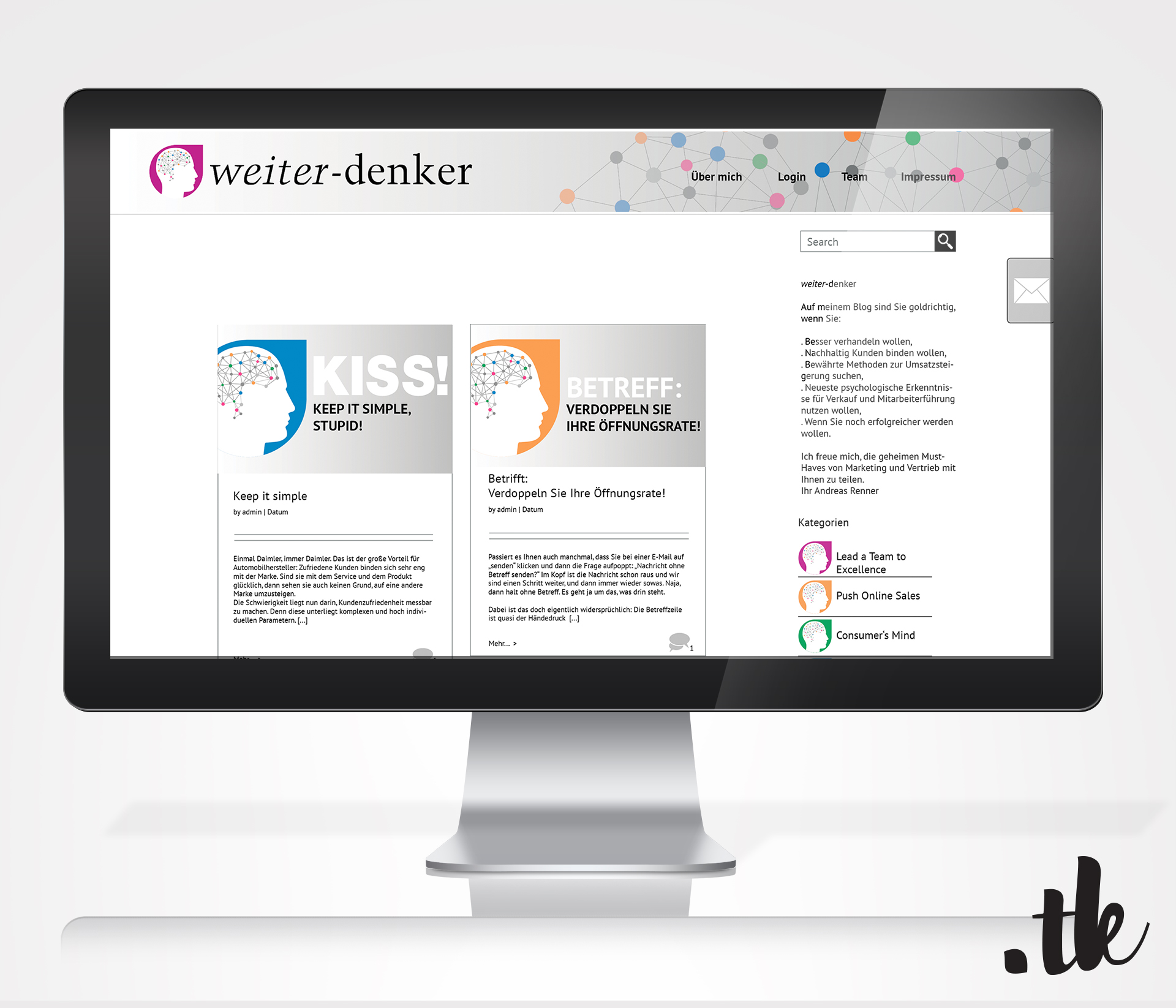 Tanja Kaiser: Social Media Marketing Strategy - Blog Design - iMac Mock Up of Blog for Weiter-Denker