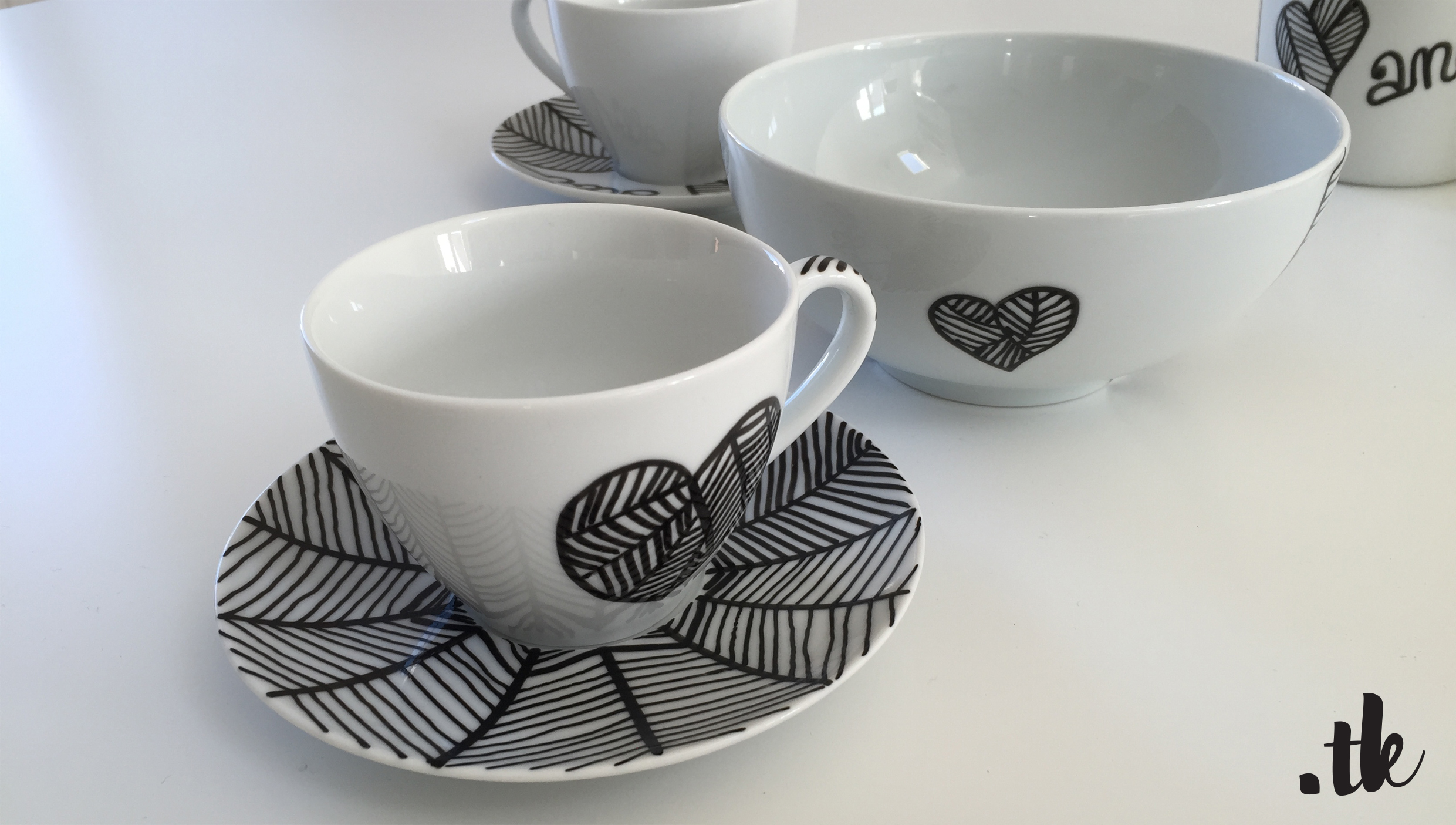 Tanja Kaiser Porcelaine Art Design Mugs in Black and White Patterns